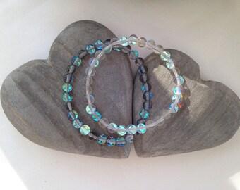 Moonstone quartz couples bracelets, his and hers, his and his, hers and hers matching bracelets, best friend jewelry, iridescent quartz