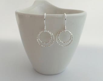 Double Circle earrings, gift for wife, fiancé, girlfriend, sister, best friend, Mothers Day, sparkly earrings, Sterling silver hoop earrings