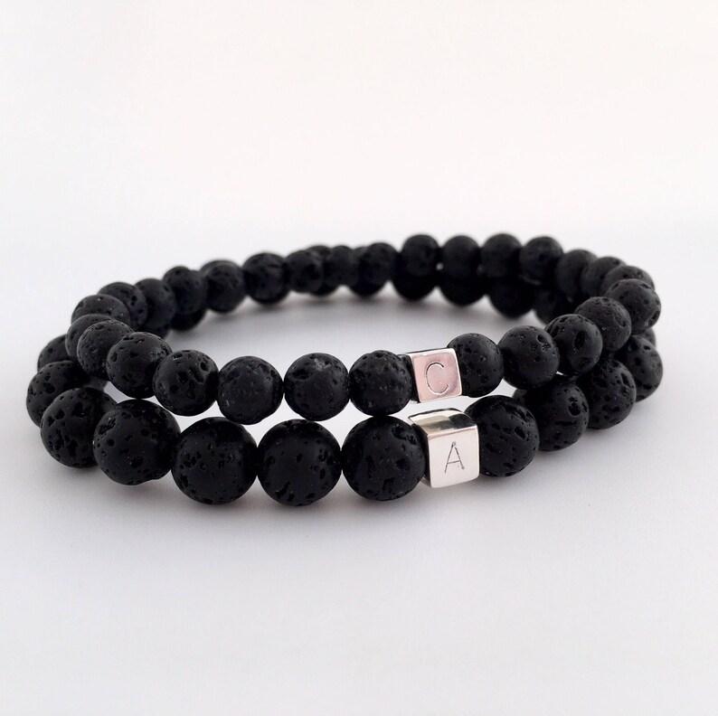 Personalised couples bracelets black lava bracelet his and image 0