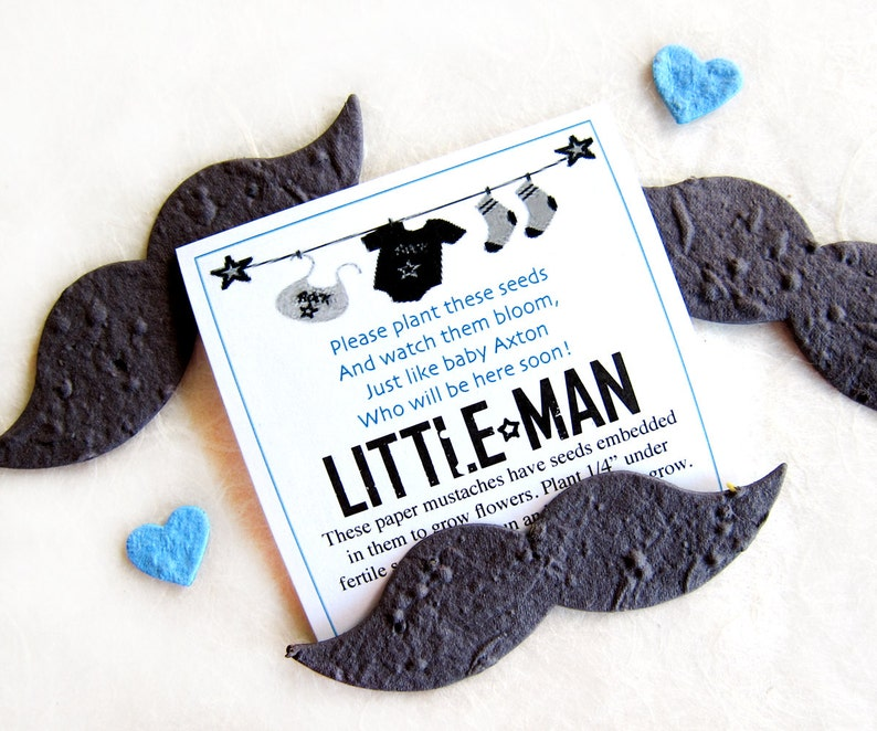 Plantable Flower Seed Paper Mustaches Baby Boy Baby Shower Black Paper Mustaches Seed Paper Little Man Baby Shower Favors