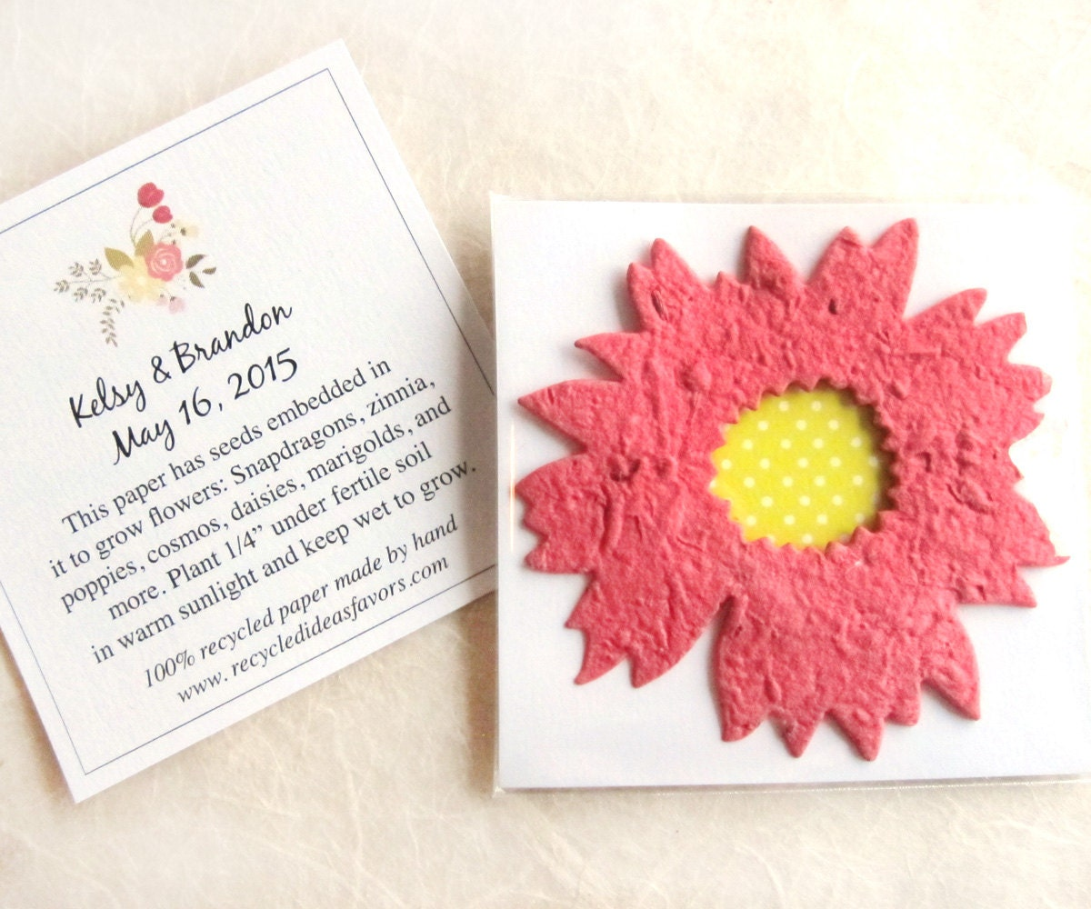 20 Daisy Plantable Seed Paper Wedding Favors Flower Seed Etsy