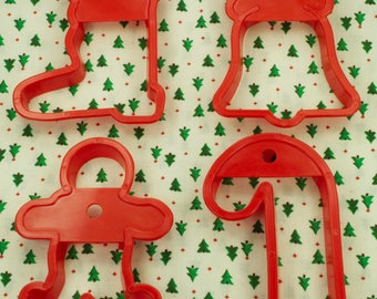 4 Pc. Vintage Red Plastic Christmas Cookie Cutter Set