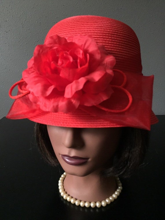 Red Bucket Hat Vintage Red Rose Hat Kentucky Derby