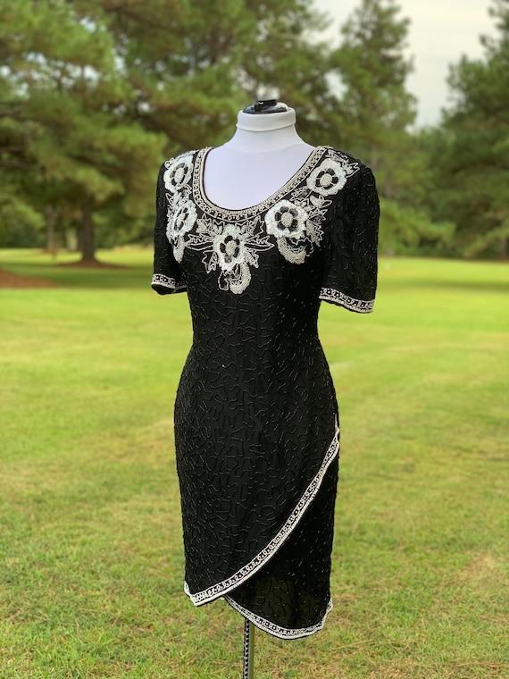 Black Beaded Dress White Pearl Cocktail Dress Vint