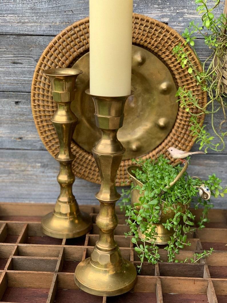 Large Brass Candlestick Pillar Pair Tall Brass Candle Holder Etsy