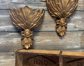 Large Gold Metal Wall Pocket Pair Faux Brass Hollywood Regency Cast Metal Wall Sconce Floral Bouquet Plant Patio Art Deco ReFabulousReVamped