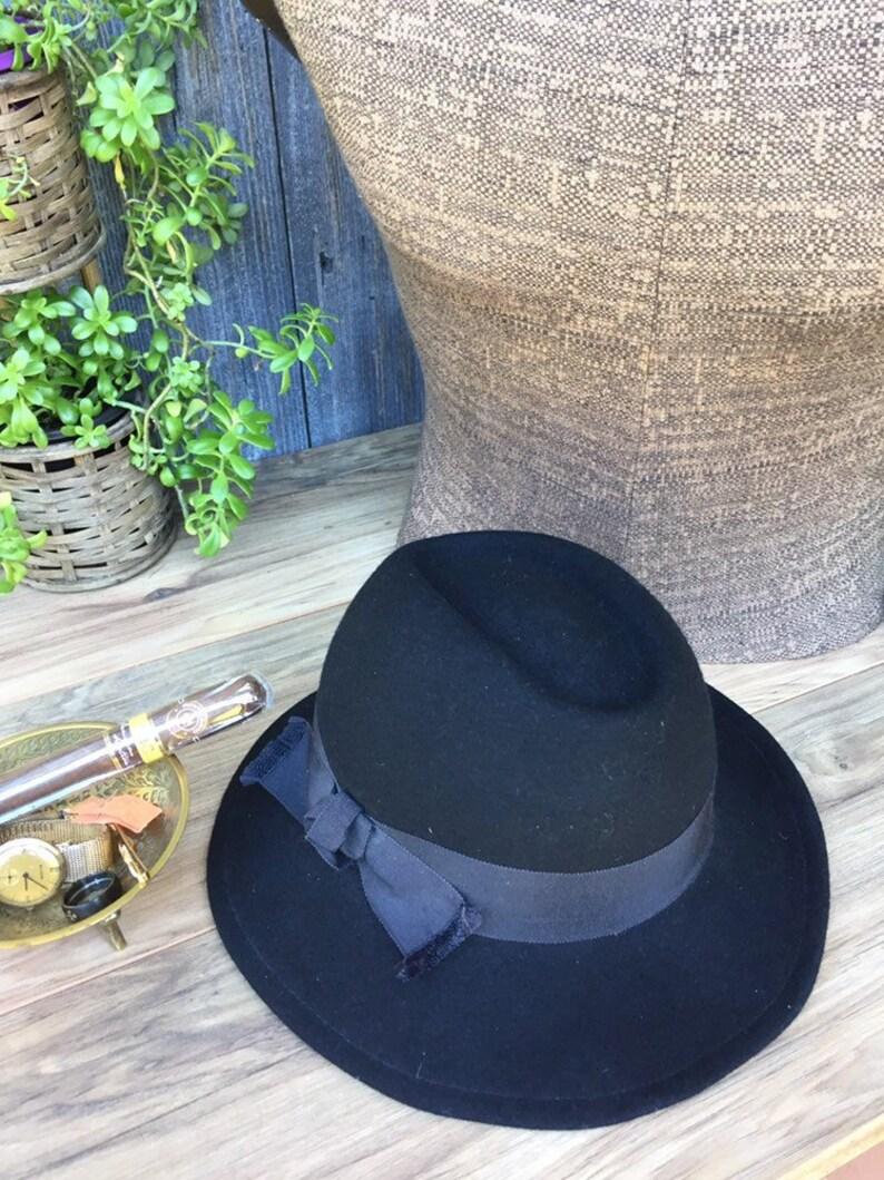 8239d132e5abe Black Fedora Hat Black Wool Hat Funeral Hat Vintage Betmar Hat