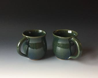 Set of 2 green stoneware mugs