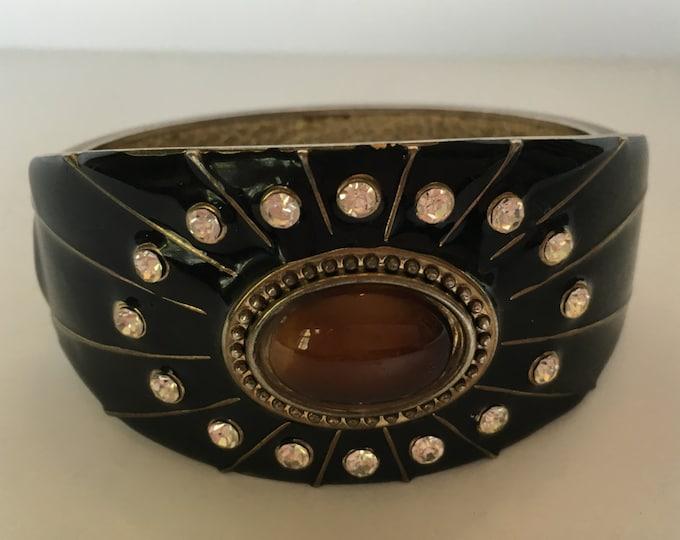 Vintage Enamel Brass and Rhinestone Cuff Bracelet Bangle Black Brown