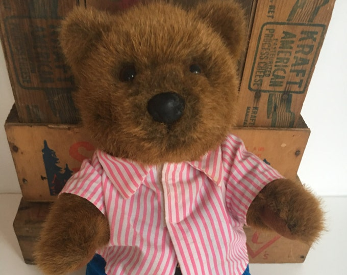 24K Company Polar Puff Teddy Bear Blue Corduroy Overalls & Striped Shirt by Special Effects a Division of Mighty Star Circa 1993-1995