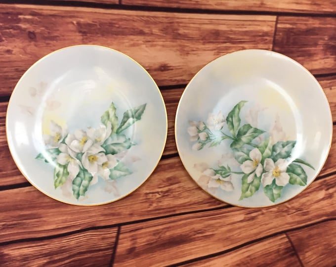 Two Antique Delinieres and Co. Limoges Gold Rim Bread and Butter Plates  Hand Painted w/ Gardenias and signed by artist Marked D & Co FRANCE