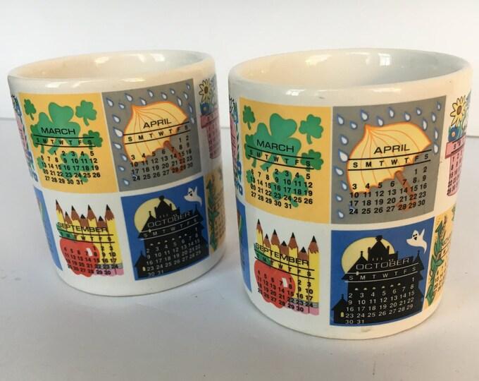 1994 Calendar Mugs by Westwood in 1992 Fun Birthday Gift Birthday Mugs, gift for him, gift for her, Birthday Gift, calendar, collectible mug