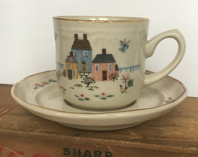 Vintage Flat Cup and Saucer Heartland Pattern international china, colonial decor, farm house county chic, vintage country, cup & saucer