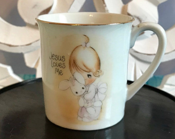 """1978 Precious Moments """"Jesus Loves Me"""" Child's China Cup Mug Jonathan and David LIC Enesco Imports Japan, Easter Gift, First Communion gift"""