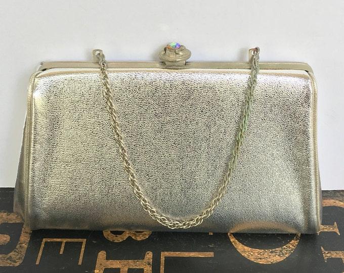 Vintage Silver Faux Leather Handbag Purse Clutch w/Chain & Rhinestone Clasp, 1960s Handbag, Evening Bag, Mad Men Style, silver bag