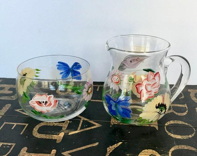 Royal Danube Hand Painted Glass Sugar and Creamer, Wedding Present, high tea, wedding gift, housewarming gift, housewarming gift