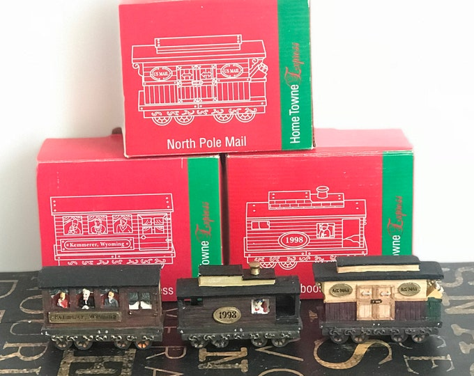 Vintage JCPenney Home Towne Express 1998 Edition,Caboose, Kemmerer WY Express or North Pole Mail Christmas Decor, Resin Train set