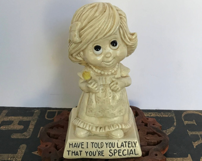 """Vintage """"Have I Told You Lately That You're Special"""" Wallace Berrie & Co. 1973 Little Girl Holding Flower Figurine, Applause, Thank You Gift"""