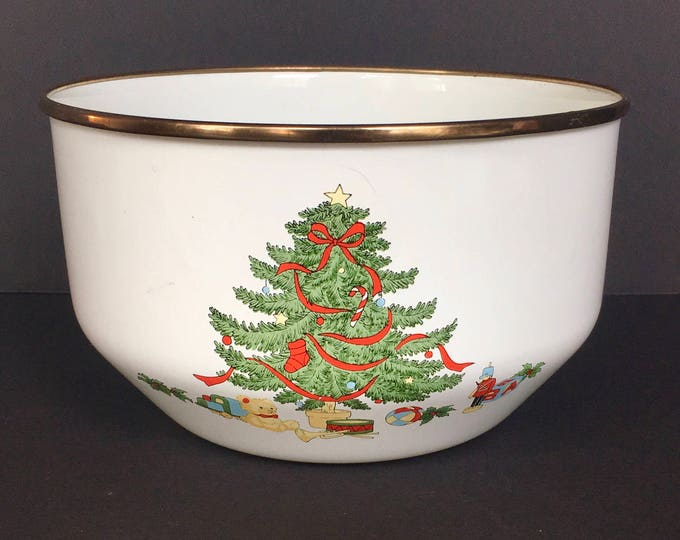 Enamel Bowl w/ Christmas Tree Made in Thailand, Christmas Decor, Holiday Entertaining, Christmas Table, Christmas Enamelware, Christmas Bowl