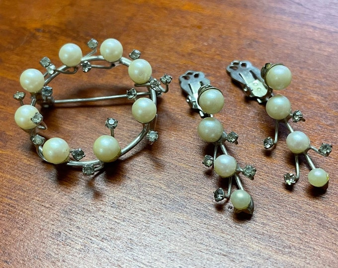 Vintage Pearl Wreath Brooch & Clip-on Earrings, unique 1950s set, June birthstone, madmen style, gift for her, Valentines gift,jewelry lover