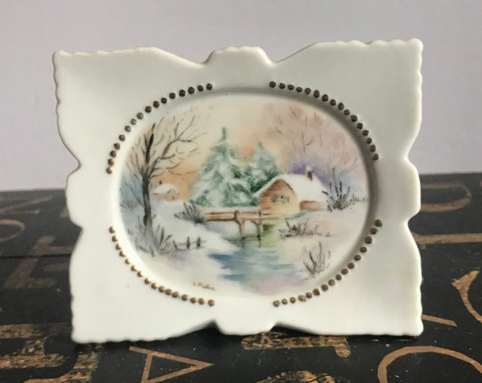 Painted Porcelain Frame Snowy Cottage Scene, signed by V. Fuller, hand painted porcelain, knick knack, mothers day gift, fathers day gift