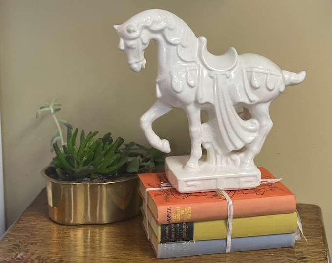 Mid-century ceramic crackle horse sculpture, w/ raised hoof,regalia festoon dressage,Greek Key detail,base surround,horse lover,office decor