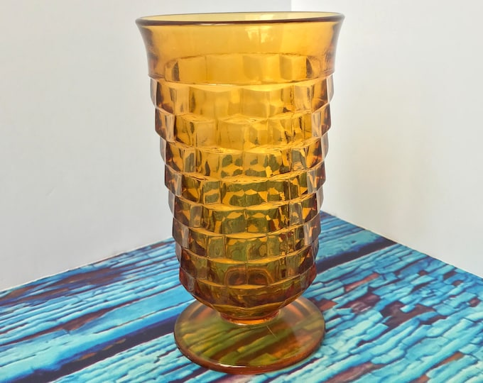 Whitehall Cubist Amber Pressed Glass Flared Rim Tumbler Colony Glass Company 7 Glasses available, Amber Glass, Country Kitchen, Farmhouse