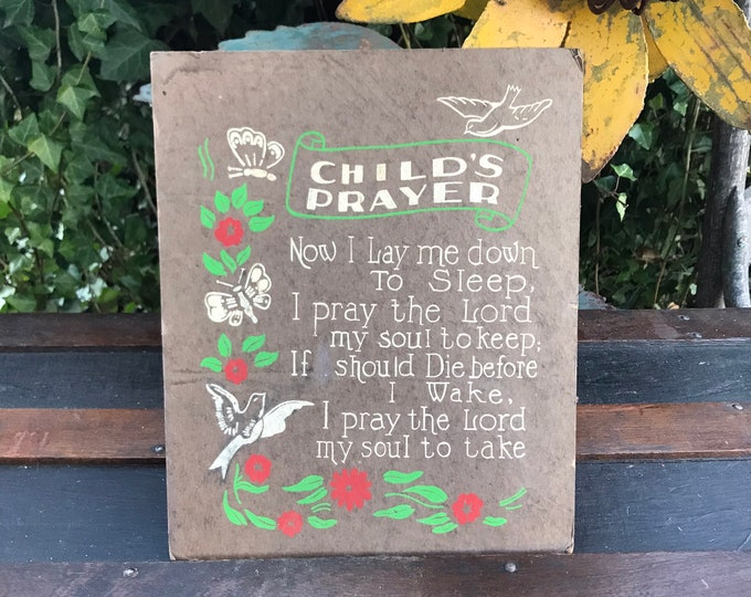 Vintage Printed Child's Prayer Sign w/doves, flowers & butterflies,1950s, cardstock, paper, nursery decor, vintage religious,religious decor