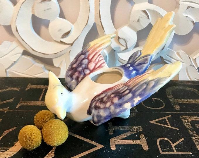 Amazing Vintage Rainbow Glazed Phoenix Figural Ceramic Flying Bird Planter, Succulent Planter, bird lover gift, Spring decor, housewarming