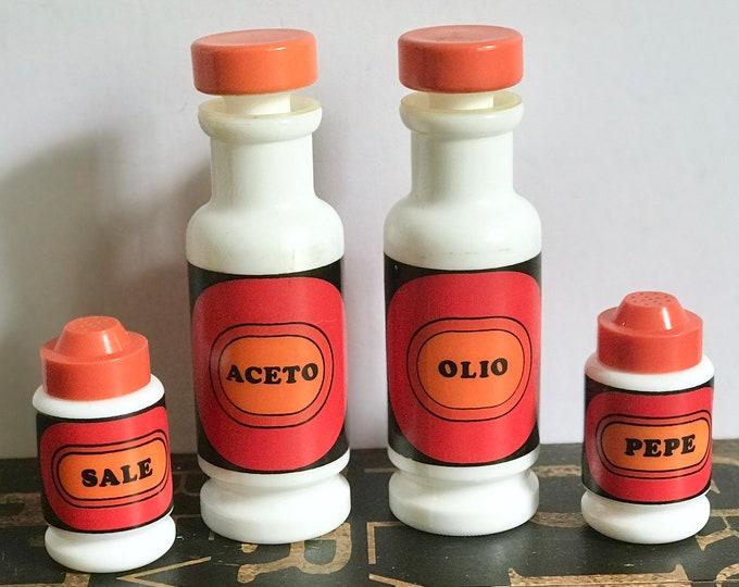 Rare Egizia Italian Milk Glass Oil, Vinegar, Salt and Pepper Set, Condiment, MCM, Mid Century Modern, Italy, sale pepe shaker Italian glass