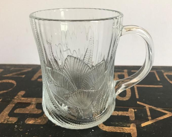 Vintage Arc Cardinal Arcoroc Canterbury 10 ounce Coffee or Tea Mug w/Floral Relief Design, Glass mug, 28, vintage kitchen, wedding gift,