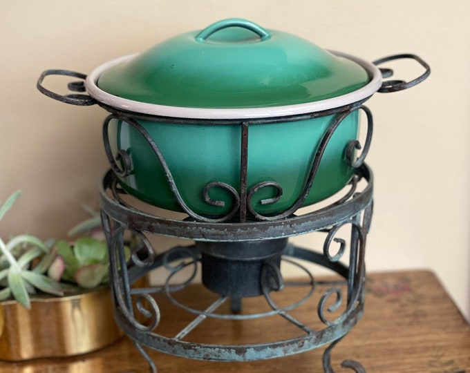1960s Globe Ware Co. Enamel Chafing Dish and Cover wrought iron casserole and Sterno can holder & stand,foodie gift,dinner party decor
