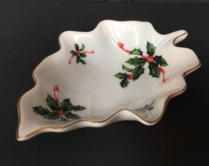 Vintage Lefton China 'Boughs of Holly' Leaf Shaped Trinket Dish, Collectible Lefton, Porcelain Leaf dish, Christmas Collectibles
