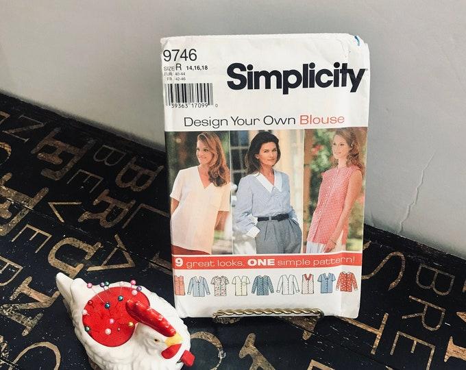 Vintage 1996 Simplicity Sewing Pattern 9746 Size 14, 16, 18, UNCUT Design Your Own Blouse  Description: Button Front