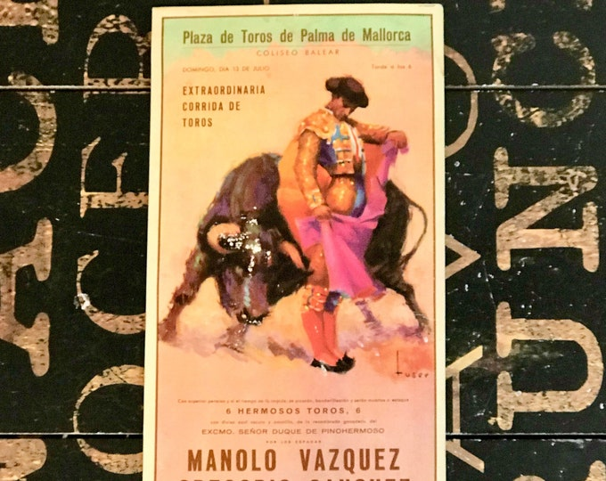 1958 Vintage Spanish Postcard Plaza de Toros de Palma de Mallorca Manolo Vazquez, Ephemera, collectible, Spain Souvenir, Matador, bullfight
