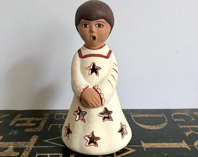 Beautiful Peruvian Folk Art Hand Made Red Clay Christmas Angel, Tea Candle, Votive Holder, Made in Peru, Singing Angel, Peruvian Folk Art,