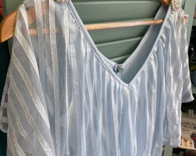 Vintage 1970s Light Blue Maxi Dress with pleated skirt, shear striped overlay bodice, split short sleeve and pearl accents on shoulders