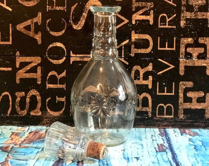 """Vintage Early American Prescut Glass Whiskey Liquor Decanter Bottle & Glass Stopper w/ Cork Rim Marked """"Liquor Bottle 65 I 68 4"""" Vintage Bar"""