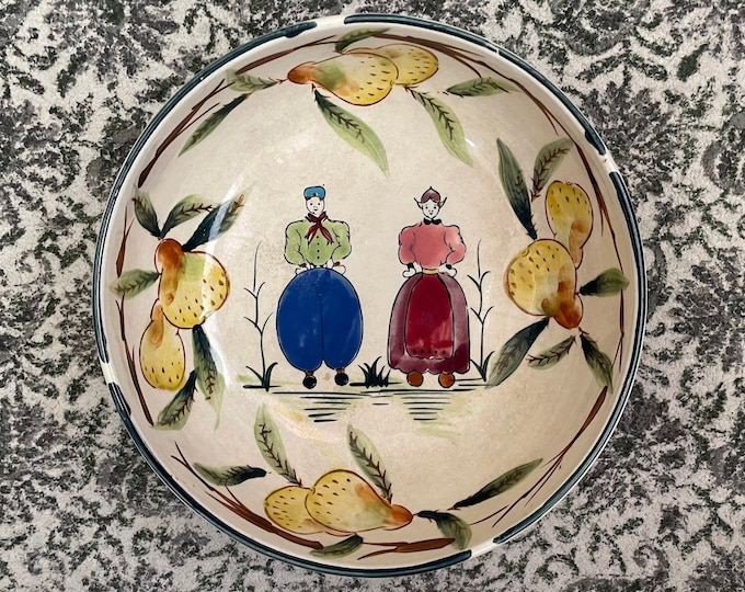 Antique Quimper Faience Style Bowl Hand Painted Old French Dutch Folk Art,France,pears,kitchen decor,French farmhouse,Pennsylvania Dutch