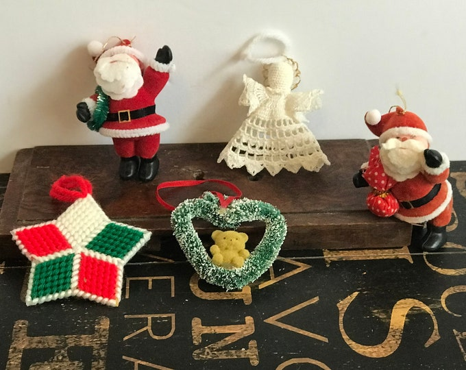 Lot of Five Vintage Christmas Ornaments, Two Flocked Santa Claus,Needlepointed Star, Crochet Angel, Flocked Heart Snow Wreath with Bear
