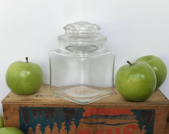 Vintage Apothecary Jar w/ Lid & small row of dots on top edge, craft storage, candy jar, kitchen decor, bathroom decor, boho, wedding decor