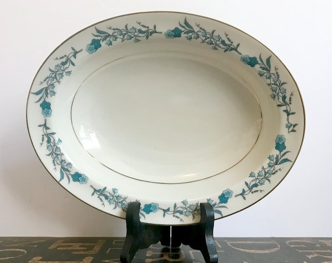 """Vintage Theodore Haviland New York Oval Vegetable Bowl in """"Clinton"""" Pattern, Blue Flowers, Bluebells, Vintage Haviland, Oval Vegetable Bowl"""