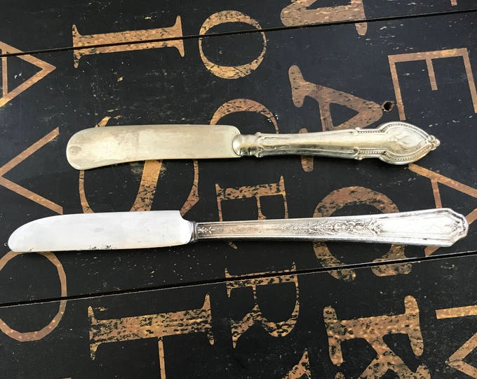 Two Vintage Silverplate Knives, New French Hollow Grille Knife in Ancestral 1924 by International Silver & One unmarked mix-match silverware
