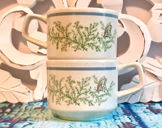Vintage Lenox Temper-ware Mugs in Fancy Free Pattern, Blue Band, Butterfly, Freezer, oven, dishwasher, & microwave safe, stoneware, flat cup