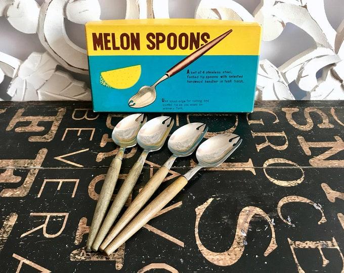 Vintage 1960s Melon Spoons Original Box Our Own Import Inc, Stainless Flatware, wood handle, Japan, movie prop, mid century kitchen gadgets,