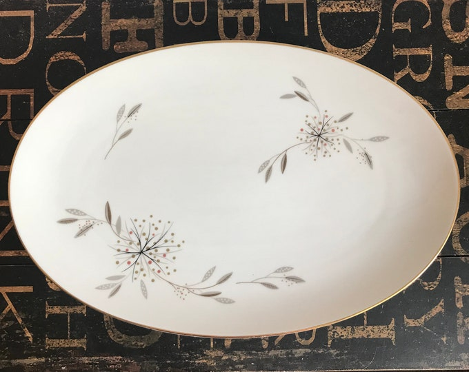"""Mid Century Vintage Noritake 14"""" inch Oval Serving Platter in Helene, 1950s, mcm, Mid Century Modern, replacement china, Thanksgiving Table"""