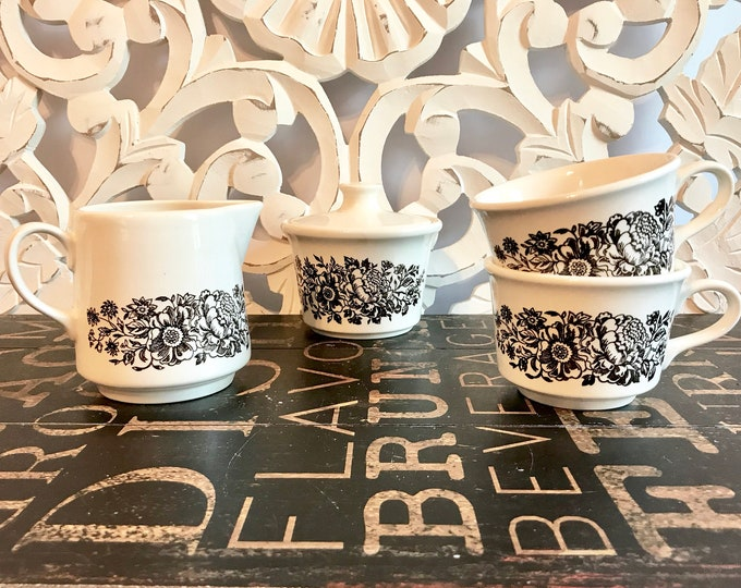 Sugar, Creamer and Two Tea Cups in the Sussex Pattern by ROYAL (USA), Ironstone, Brown Flowers On Rim & Center, 1980s, coffee gift, tea gift