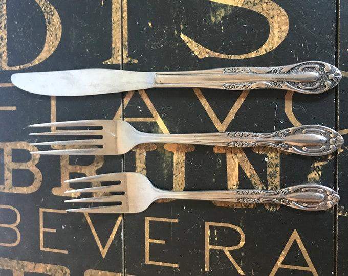 Vintage Flatware, National Stainless, Broadmoor Japan, Pattern NST9 Scrolls, Flowers, replacement flatware, stainless, salad fork, knife,