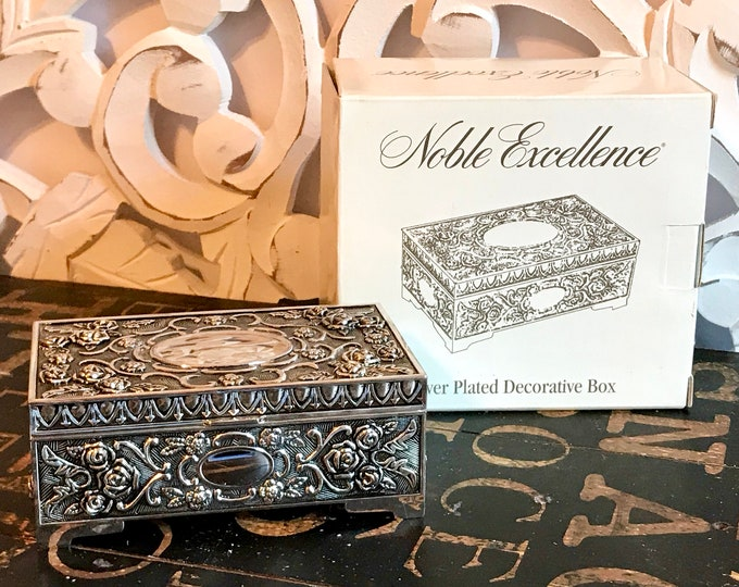Noble Excellence Silver Plated Jewelry Box w/ Midnight Blue Velvet Lining, Decorative Box, New in Box, Old Stock,Valentines gift,Mothers Day