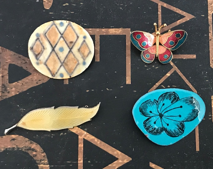 Vintage Enamel Brooches/Pins, Karin Og Aase, Made in Danmark, feather, butterfly, flower, geometric, , gift for mom, man brooch, lapel pin